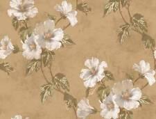 Wallpaper Designer Floral Hibiscus Trail Vine Green Leaves on Metallic Gold