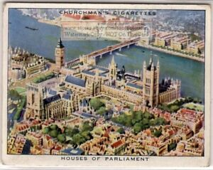 Palace of Westminster Houses Of Parliment Seen From Air 1930s Trade Ad Card
