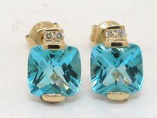 Blautopas Ohrstecker 585 Gelbgold 14Kt Gold beh. Blautopas und Brillanten