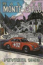 356 PORSCHE ILLUSTRATION * 1953 MONTE CARLO RALLYE*  WILLIAM BURROWS ILLUSTRATOR