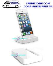 Base Dock Caricatore Bianco Apple iPhone 5 5s 5c Docking Station Carica Sync