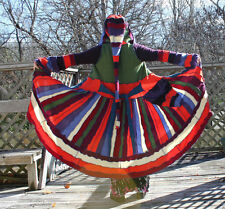 Upcycled Sweater Coat  Autumn Rainbow, medium, wool cashmere, Festival, Fairy