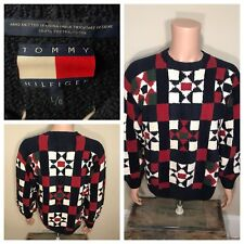 Vintage Tommy Hilfiger Men large Sweater Hand Knit Cotton Colorblock flags rare
