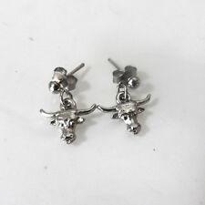 Vintage Western Bull Longhorn Post Stud Silver-Tone Earrings