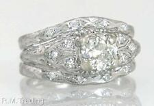 Antique Estate Platinum .84ct Genuine Diamond Art Deco Wedding Ring Set 7.4g