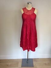 TED BAKER HOT PINK NET TOP SILK DRESS SIZE 2 UK 10