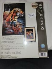 New Dimensions Tiger Chilling Out Counted Cross Stitch Kit 18 Count Black Aida