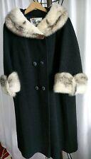 Vintage Mink Trim Black Wool Coat Sz 14-16 Excellent Cond.Classy Sophisticated