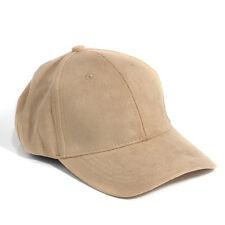 Unisex Men Women Faux Suede Baseball Cap Snapback Visor Sport Sun Adjustable Hat Khaki