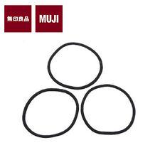 MUJI HAIR BAND Elastic Hair Accessories 3pcs (THIN / BLACK) JAPAN NEW FREE SHIP