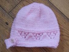 Brand New Hand Knitted Pink Baby Bonnet 0-3 / 3-6 / 6-9 Months