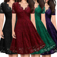 Women V-Neck Off Shoulder Lace Formal Evening Party Dress Short Sleeve Dress USA