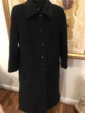 Ellen Tracy Company Long Black Womens Wool & Angora Coat Beautiful 14