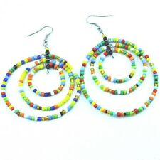 Color Masai Bead Loop Earring 657-79 Maasai Market Handmade Africa Jewelry Multi