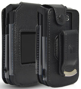 Black Vegan Leather Case with Belt Clip for Verizon Orbic Journey V Flip Phone