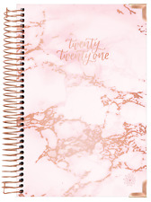 2021 HARD COVER DAILY PLANNER & CALENDAR, PINK MARBLE - bloom