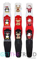 New Womens Novelty Christmas Turtleneck Rudolph Santa Print Xmas Bodycon Dress
