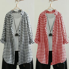ZANZEA Women Casual Plus Size Long Sleeve Check Button Down Shirt Tee Top Blouse