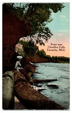 Early 1900s Scene near Chandlers Falls, Escanaba, MI Postcard
