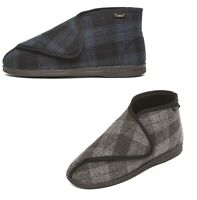 Mens Slippers Dr Keller Touch Fasten Extra Wide Fitting Cosy Lining UK 7-12