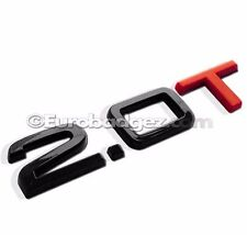 1 - NEW 2.0T 3D Adhesive Rear Badge Emblem fits A3 A4 A5 GLOSS BLACK 2.0T RED T