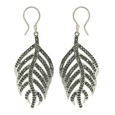 Shine Jewel 925 Sterling Silver Cute Feather Dangling Black Spinel Leaf Earring