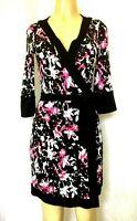 DVF Diane Von Furstenberg RENNY WRAP DRESS White Black Pink 3/4 sleeve Silk 8
