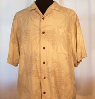 Genuine TOMMY BAHAMA Hawaiian SHIRT Tropical Pattern Pineapples Large VG!