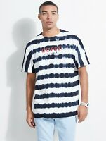 Guess Originals Men Black/offWhite Striped Over-sized 100% Cotton T-shirt Size L