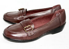 NWOB CLARKS 88934 Wo's 11W Brown Leather Moc Toe Buckle Loafer Slip On