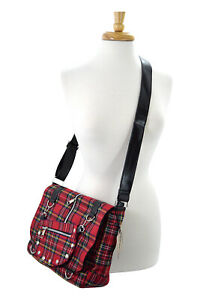 Lost Queen Red Tartan Plaid Crossbody Purse Red plaid messenger bag