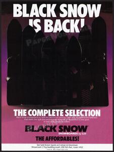 BLACK SNOW SNOWBOARDS__Original 1989 Trade print AD / promo__SLM dealer ADVERT