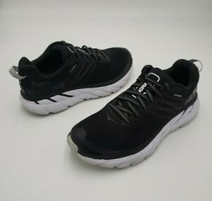 Hoka One One Womens Clifton 6 1102873 BWHT Black Running Shoes Lace Up Size 7