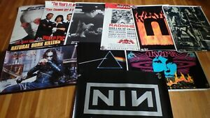 Vintage 90's Poster Lot of 10 Nine Inch Nails, Natural Born Killers, Super Rare!