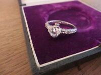 Schöner 925 Silber Ring Zirkonia Wie Diamant Pave Designer Verlobung Modern Top