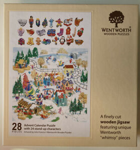 Wentworth Kids Christmas Advent Calendar Wooden Jigsaw Puzzle 52 Reusable Rare