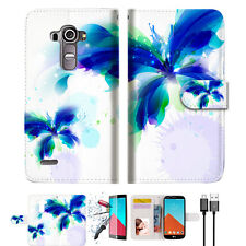 Blue Butterfly Wallet TPU Case Cover For LG G4-- A009
