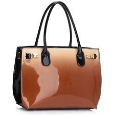 Neu Multifarben Damen Lackleder Designer Damen Schulter Handtasche Tragetasche