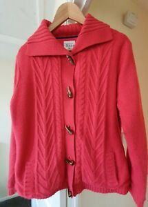LADIES FLEECE LINED CARDIGAN, COUNTRY ROSE, LARGE (16) PRETTY PINK, TOGGLES
