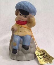 Figural Little Boy Bell 1978 Jasco Merri Bells Bisque Porcelain Vintage