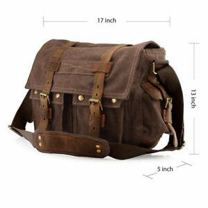 17'' Laptop Shoulder Messenger Bag Men's Military Canvas Leather Satchel Bag NEW