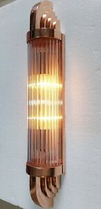 Antique Vintage Old Art Deco Copper & Glass Rod Ship Light Wall Sconces Lamp