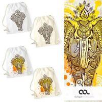 Turnbeutel Elefant Mandala Muster Hipster Beutel Tasche Jutebeutel Elephant