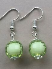 Pretty Faceted Lime Green Dangle Earrings