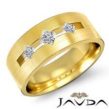 Round Bezel Diamond 3Stone Mens Half Wedding Band 14k Yellow Gold 7mm Ring 0.3Ct