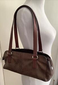 Vintage FOSSIL Brown Pebbled Leather Satchel Shoulder Bag 15 x 8 x 5