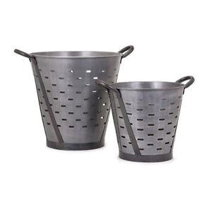 IMAX Vintage 4 Piece Pierced Bucket Set 44220-2---Set of 2 Silver Buckets