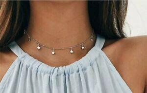 Women Girls Fashion Choker Collar Necklace ☆ Star Charm Pendants ☆ Silver