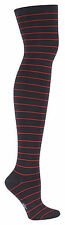 Sock It To Me Women's Over the Knee Socks - Navy & Red Striped