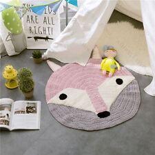 New Handmade Kids Knit Cartoon Round Rug/Floor Mat 80CM Fox Face Pink/Grey/White